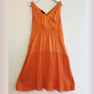 Piazza Sempione Orange Silk Dress with Belt Wrap